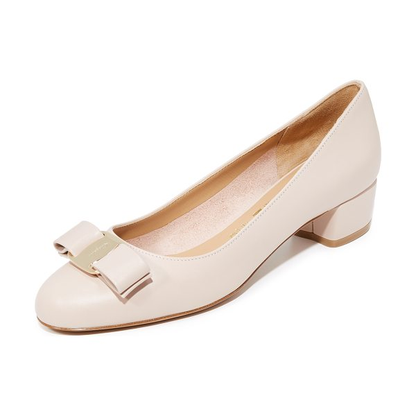 Salvatore Ferragamo vara low heel pumps in new bisque