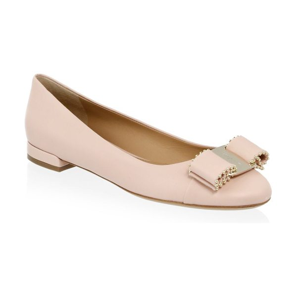 Salvatore Ferragamo vara studded bow leather flats in light pink - Chic leather flats with goldtone hardware studded bow on...