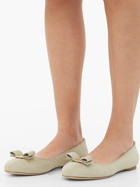 Salvatore Ferragamo varina glittered-leather ballet flats in gold