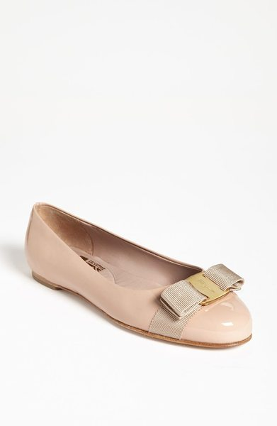 Salvatore Ferragamo 'varina' leather flat in new bisque - A modern ballerina flat features a signature grosgrain...