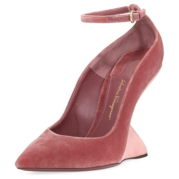 "Salvatore Ferragamo Arsina 105 Velvet Wedge Pumps in new griotte/blush - Salvatore Ferragamo ""Arsina 105"" velvet pump. 4.3""..."