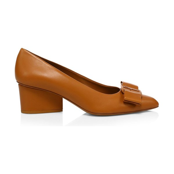 Salvatore Ferragamo viva bow leather pumps in brown