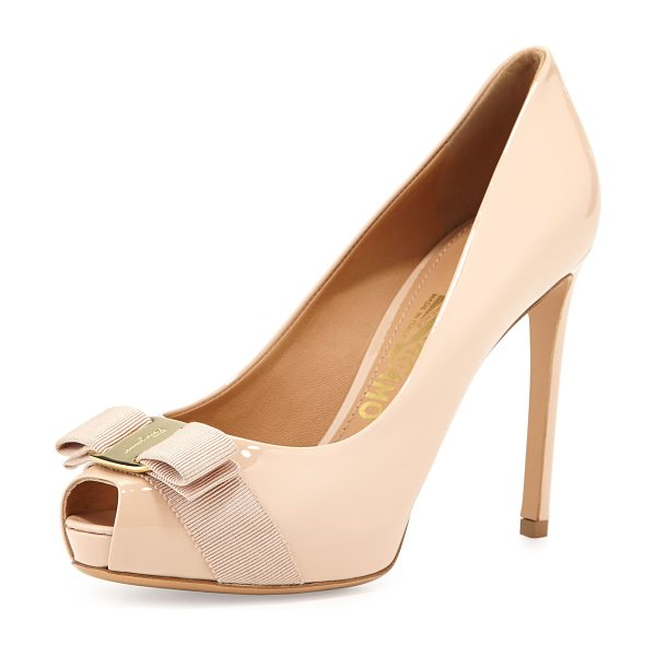 "Salvatore Ferragamo Plum Peep-Toe Bow Pump in new bisque - Salvatore Ferragamo patent leather pump. 4"" covered..."