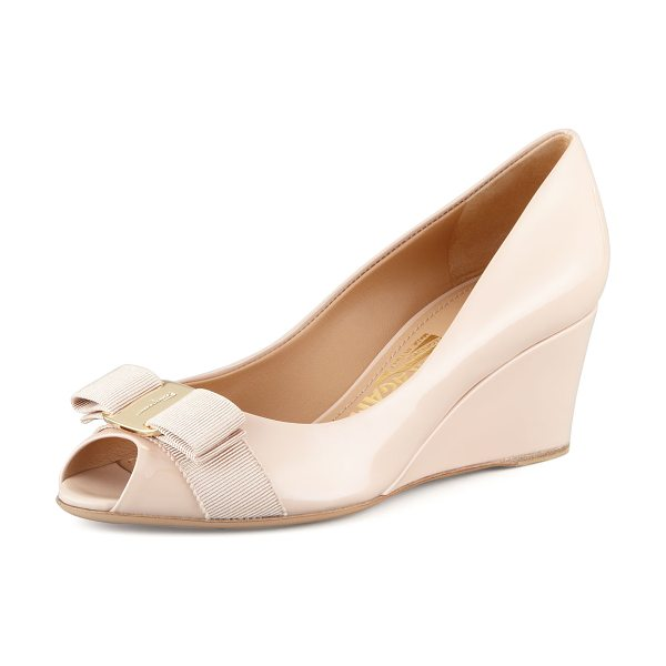 Salvatore Ferragamo Sissi vara mid-wedge pump in new bisque - Patent-leather pump sports iconic grosgrain Vara bow at...