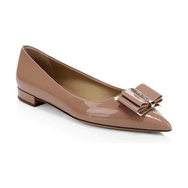 Salvatore Ferragamo zeri point toe bow flats in blush