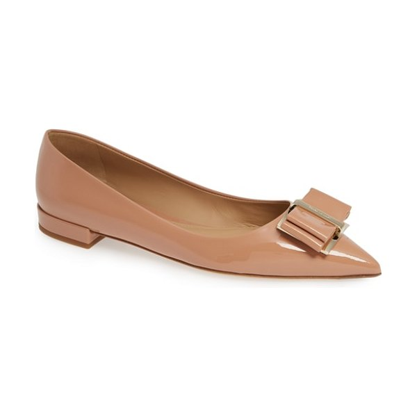 Salvatore Ferragamo zeri pointy toe flat in pink - A triple-layered bow crowns the pointed toe of a...