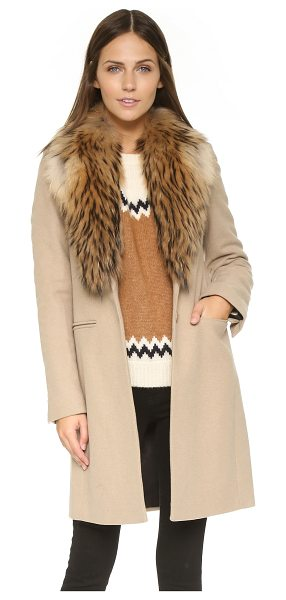 SAM. Crosby coat in camel - A fur collar brings cozy luxury to this long SAM. coat....