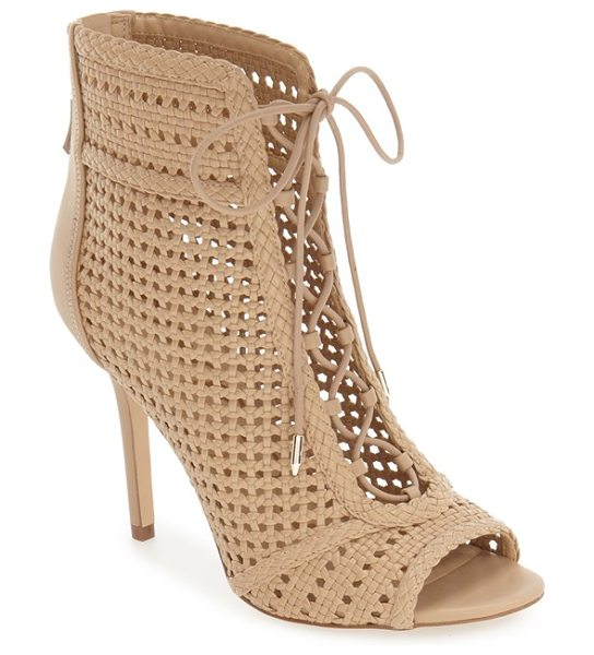 Sam Edelman abbie bootie in classic nude - A woven finish and ghillie laces add plenty of vintage...