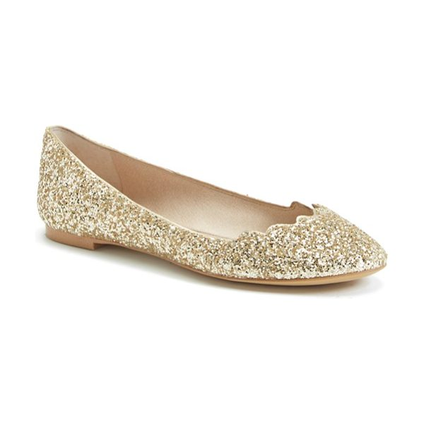 Sam Edelman alaine scalloped topline flat in gold/ silver - The classic ballet flat gets a playful twist with a...