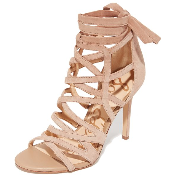 Sam Edelman alba sandals in oatmeal - Suede Sam Edelman cage sandals in an ankle-high profile....