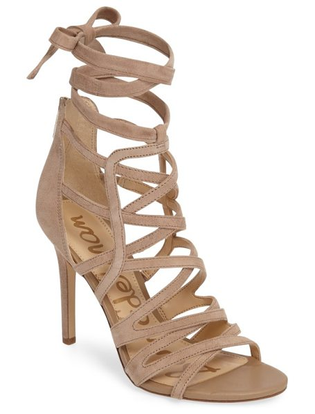 SAM EDELMAN alba wraparound cage sandal in oatmeal suede - Slender straps crisscross seductively up the cage of a...