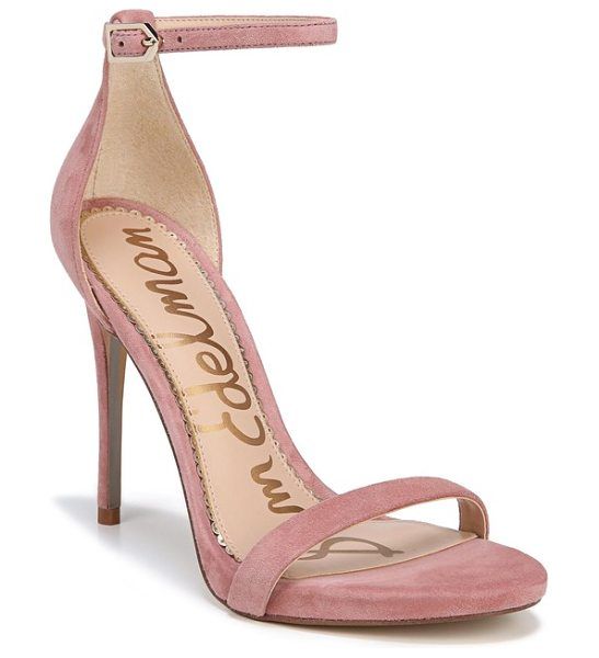 Sam Edelman ariella ankle strap sandal in misty rose suede - Slender straps bridge the toe and encircle the ankle in...