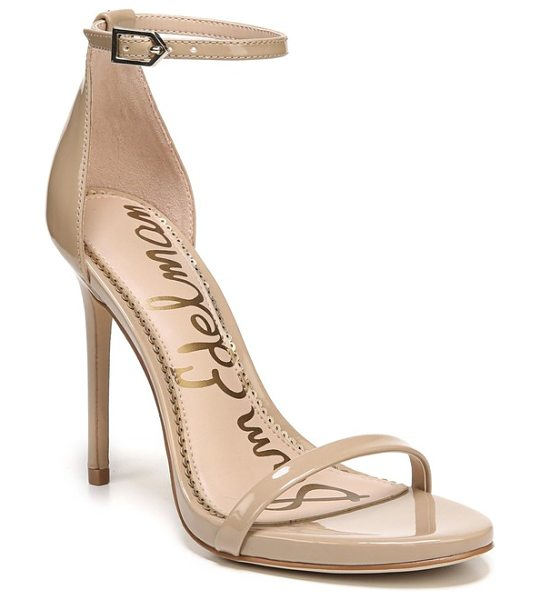 Sam Edelman ariella ankle strap sandal in nude patent leather - Slender straps bridge the toe and encircle the ankle in...
