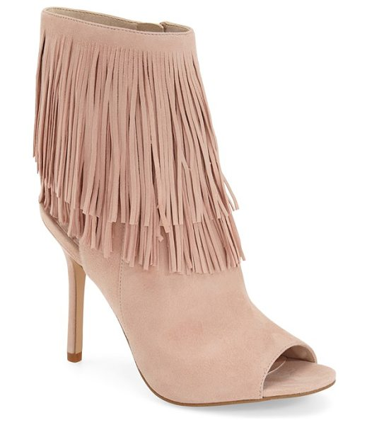Sam Edelman 'arizona' fringe open toe bootie in seashell pink suede - An airy, open counter furthers the bohemian vibe of a...