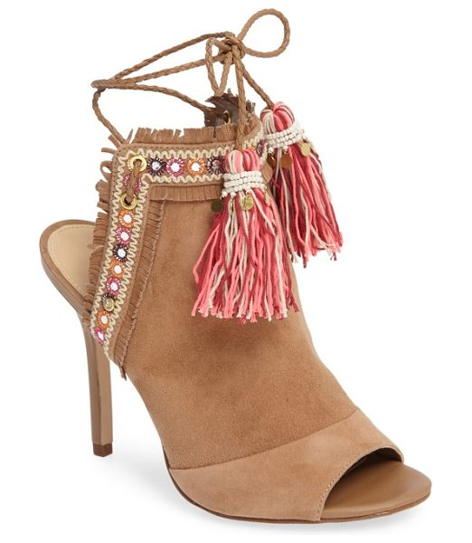 Sam Edelman artie 2 bootie in golden caramel leather - Colorful tassels dangle from the braided straps of a...