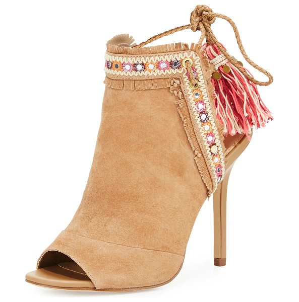 SAM EDELMAN Artie 2 Fringe Open-Toe Bootie in beige - Sam Edelman kid suede bootie with embroidered, fringe...