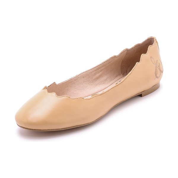 Sam Edelman Augusta scalloped ballet flats in cool sand - A scalloped top line and ballerina silhouette give these...