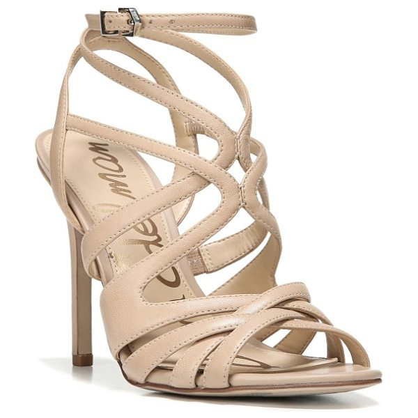 Sam Edelman aviana sandal in classic nude nappa leather - Swirling, graceful cage straps interlace on a stunning...
