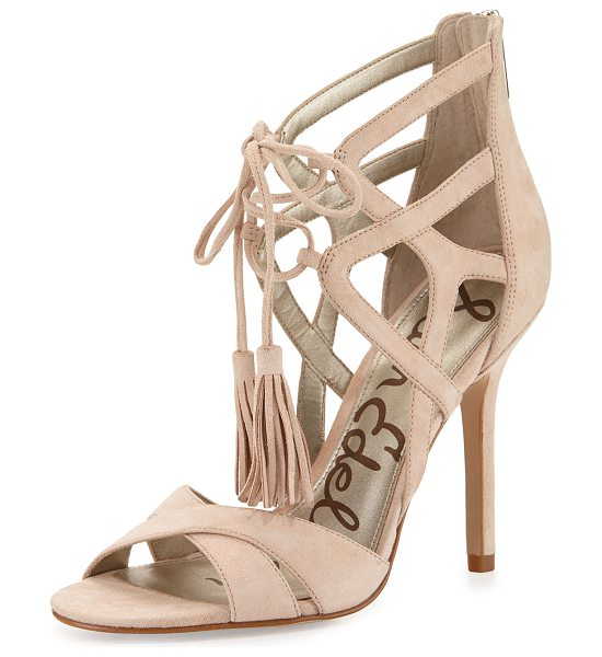 "SAM EDELMAN Azela strappy tassel sandal in soft nude - Sam Edelman suede sandal. 4"" covered heel. Crisscross..."