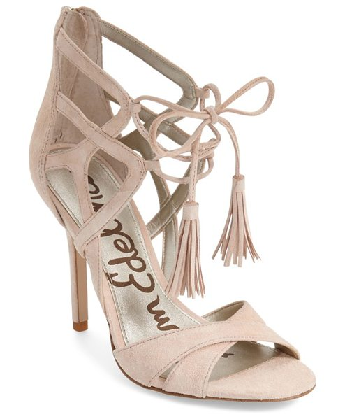 Sam Edelman azela tasseled lace-up sandal in soft nude suede - Soft tassels tip the twining lace-up cords that bridge...