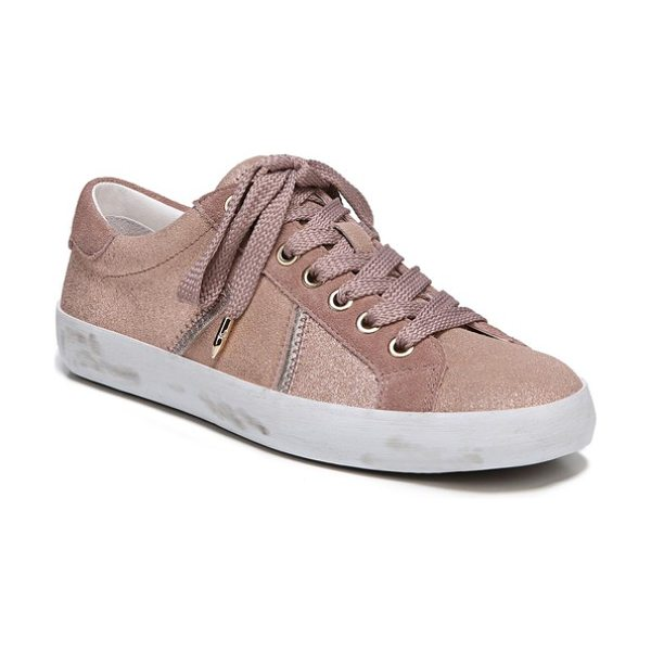 Sam Edelman baylee sneaker in blush suede - Metallic accents add just-right shimmer to an everyday...
