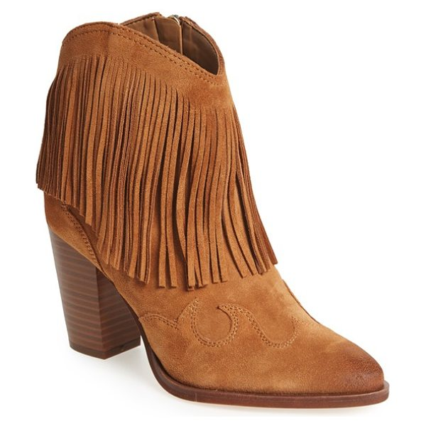 Sam Edelman 'benjie' western bootie in golden suede - Dramatic fringe and curved appliques at the heel and toe...