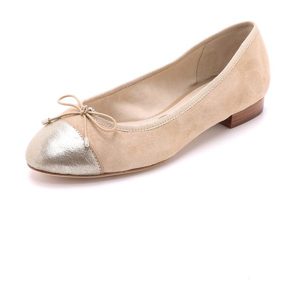 Sam Edelman Bev cap toe ballet flats in gianuia classic nude - A bow and logo charm add a sweet touch to suede Sam...