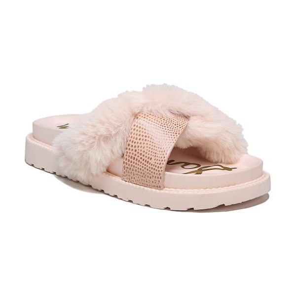 Sam Edelman bianca faux fur cross strap sandal in rose faux fur - Straps of plush faux fur and pebbled faux lizard cross...