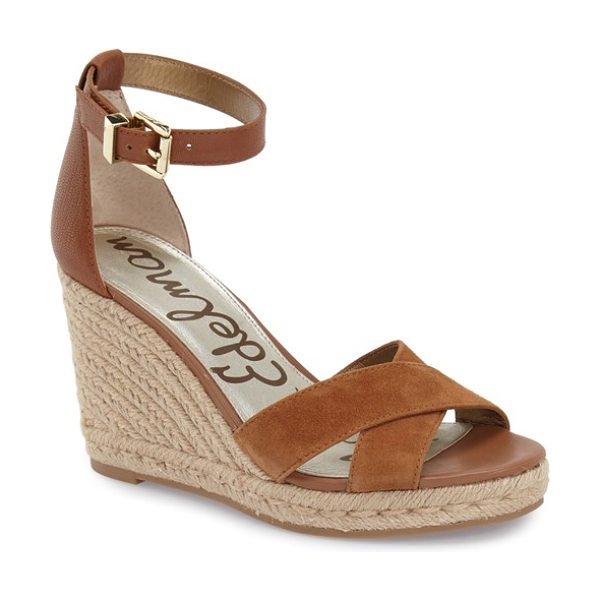 Sam Edelman brenda espadrille wedge sandal in saddle - Crossover straps at the vamp detail a versatile...
