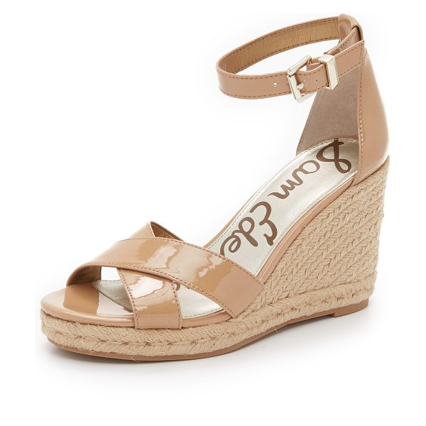 Sam Edelman Brenda espadrille wedge sandals in almond - Patent faux leather Sam Edelman sandals with a braided...