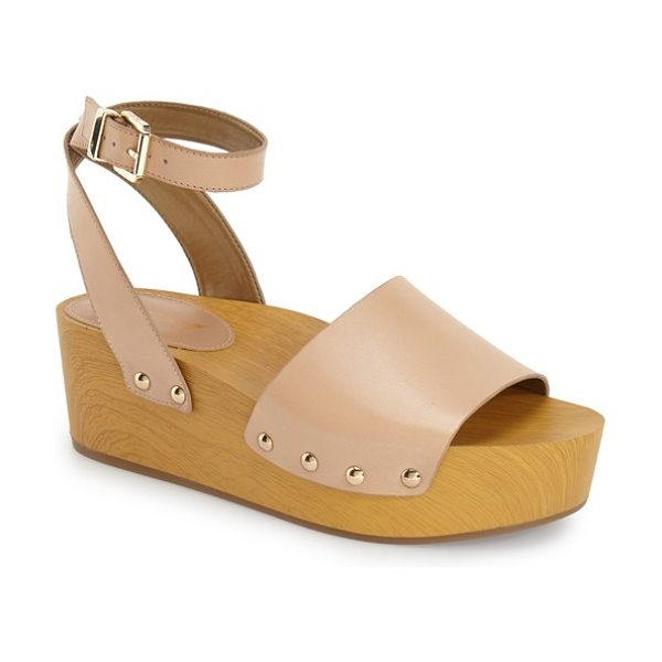 Sam Edelman brynn sandal in natural leather - A chunky wood-like platform sandal channels '70s glam...