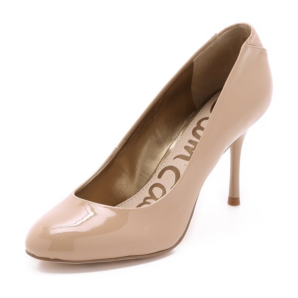 Sam Edelman Camdyn pumps in nude - These faux patent leather Sam Edelman pumps have a metal...