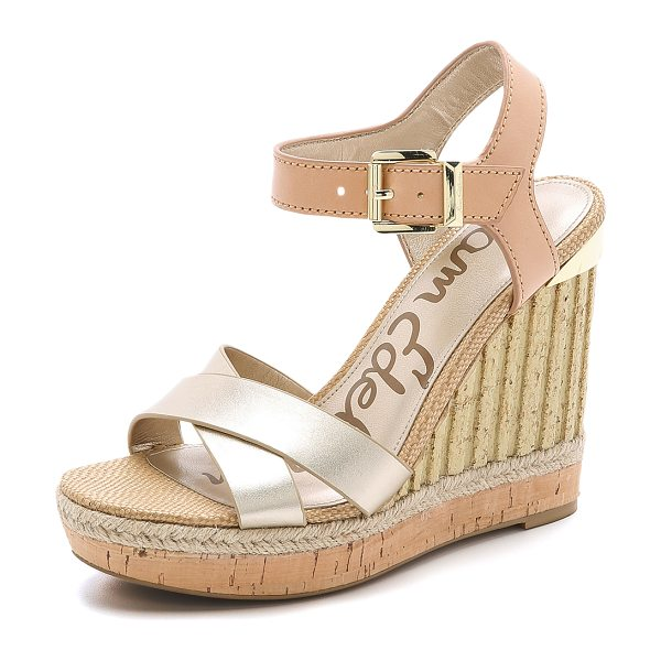 Sam Edelman Clay wedge sandals in jute/natural naked - Matte and metallic sections bring subtle contrast to...