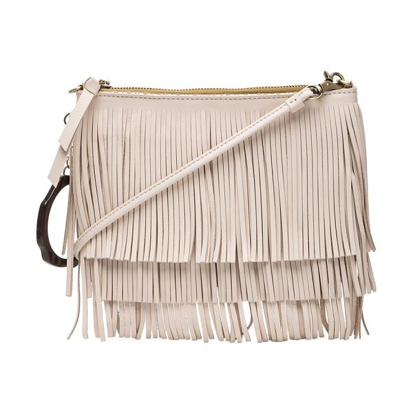 SAM EDELMAN Clover fringe pouch in beige - Woven fabric exterior with fabric lining. Measures...