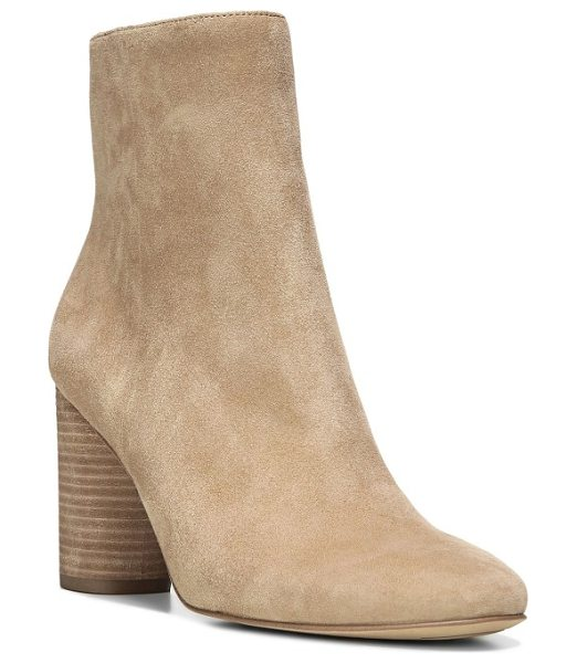 Sam Edelman corra bootie in golden caramel suede - A round column heel provides a poised finish for this...