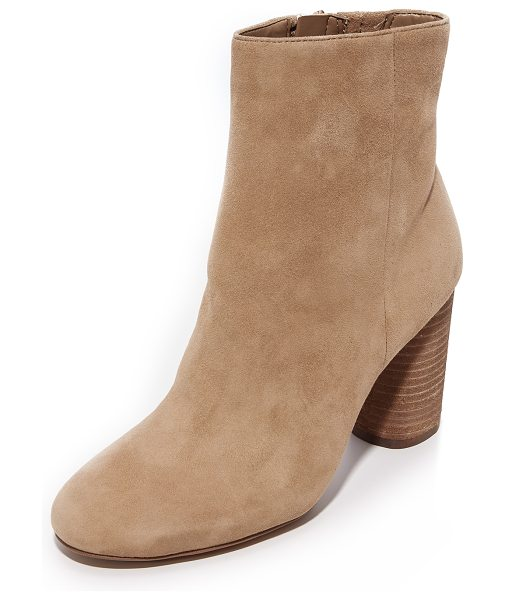 Sam Edelman corra booties in golden caramel - Versatile Sam Edelman booties composed of soft suede....