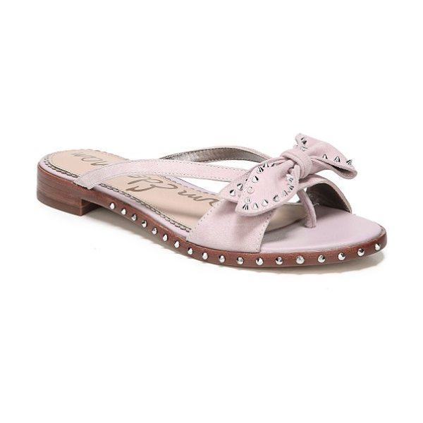Sam Edelman dariel bow sandal in pearl pink suede - Silver studs add subtle edge to a bow-topped sandal with...