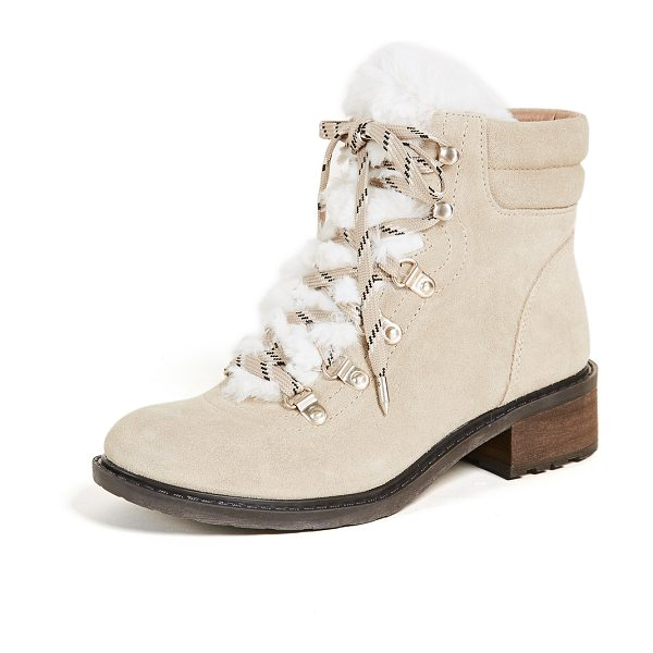 Sam Edelman darrah 2 hiker boots in desert/off white - Soft faux fur adds a feminine touch to the rugged...