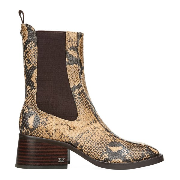 Sam Edelman dasha square-toe snakeskin-embossed leather chelsea boots in dark wheat
