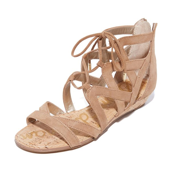 SAM EDELMAN dawson wedge sandals - A low cork wedge adds a subtle lift to these suede Sam...