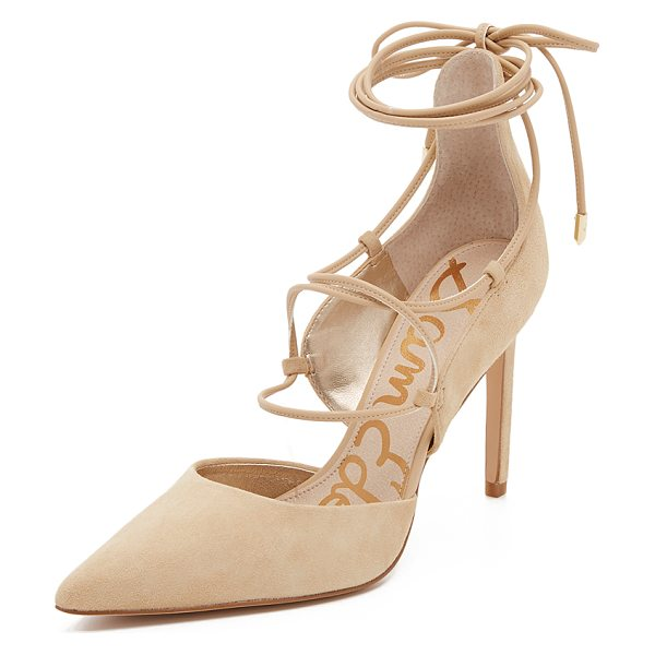 Sam Edelman Dayna lace up pumps in nude - Suede Sam Edelman pumps in a pointed toe profile....