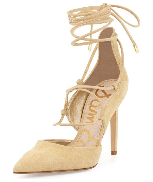 "Sam Edelman Dayna Suede Lace-Up Pump in desert nude - Sam Edelman kid suede d'Orsay pump. 4"" covered heel...."
