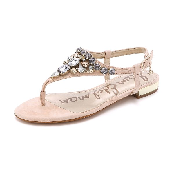 Sam Edelman Dayton jeweled suede sandals in soft nude/jute - A jeweled vamp and mirrored heel bring bold shine to...