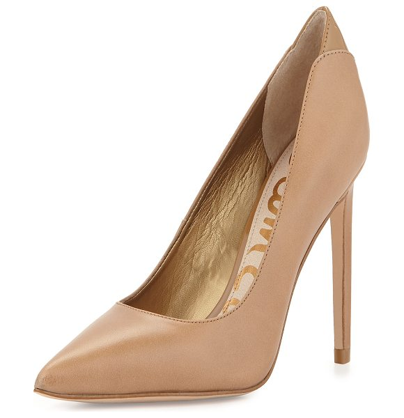 Sam Edelman Dea layered leather pump in camel -  Sam Edelman goat leather pump with patent trim. Covered...
