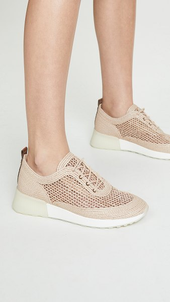 Sam Edelman delma sneakers in natural - Fabric: Raffia Croc-embossed leather trim Lace-up at...