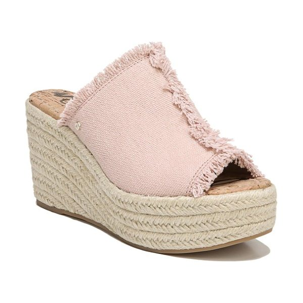 Sam Edelman dina wedge in shell pink - Soft fringe amps up the playfulness of a warm-weather...