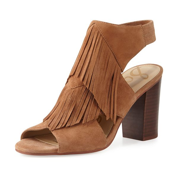 "Sam Edelman Elaine Fringe Chunky-Heel Sandal in saddle - Sam Edelman kid suede sandal with fringe trim. 3.5""..."