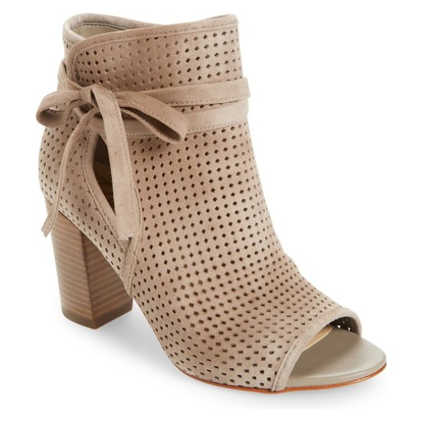 Sam Edelman ellery open toe bootie in putty suede - A perforated upper and open toe add breezy updates to a...