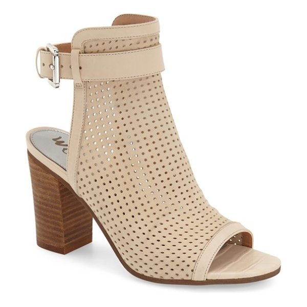 Sam Edelman emmie open toe boot in summer sand leather - A perforated leather cuff extends the modern...
