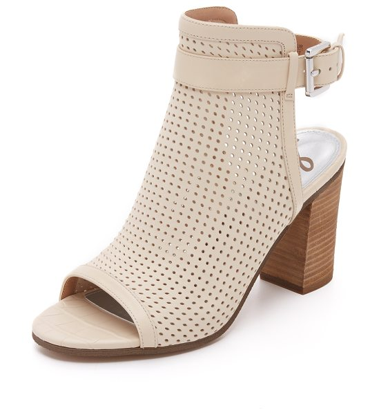 SAM EDELMAN Emmie peep toe booties - Smooth leather trims the perforated upper on these peep...